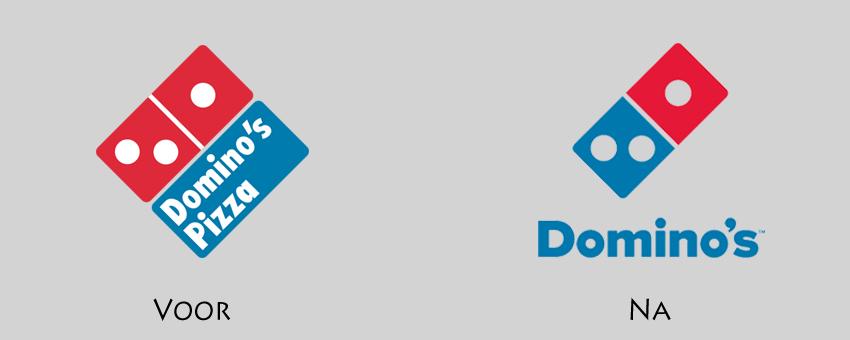 Domino's logo voor en na de rebranding