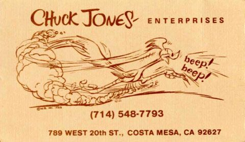 Chuck Jones animator visitekaartje