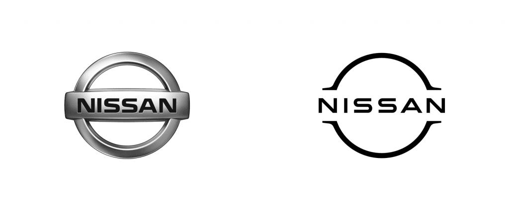 Nissan's oude en nieuwe logo